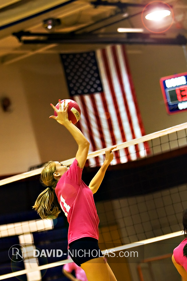 Lady Patriot Madi Staub is ready at the net with another winning shot against the Lady Bucks.