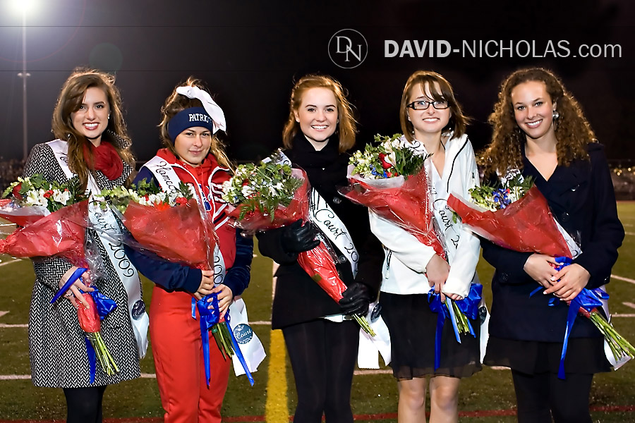 Pretty ladies from this year's C.B. East homecoming court braved the evening's intermittent rain and 38-degree temperature during halftime.