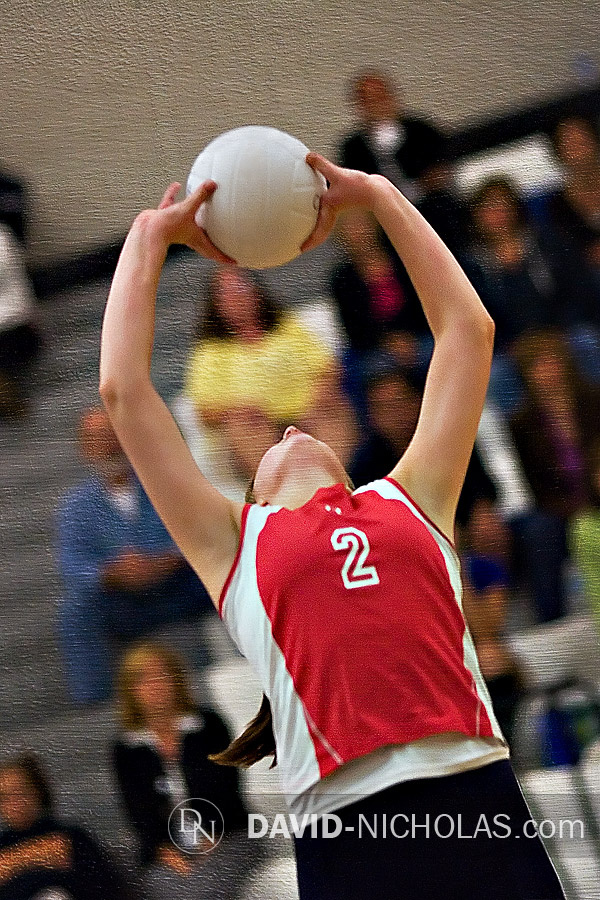 Lady Patriot Kelsi Halliwell (2) positions a precision set in preparation for the follow-up attack.