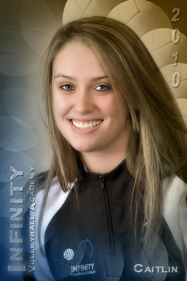 "Poster Style #2, entitled ""Strictly Volleyball"", features Caitlin from Archbishop Wood High School."